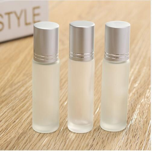 3pcs 10ml Clear Frosted Thick Glass Roll On Essential Oil Empty Perfume Sample Bottle 10cc Stainless Steel Roller Ball 2019