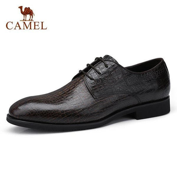 Camel Men Business Dress Shoes Genuine Leather Lightweight Mens Oxford Shoes Men Flexible Cowhide Vintage Texture Footwear