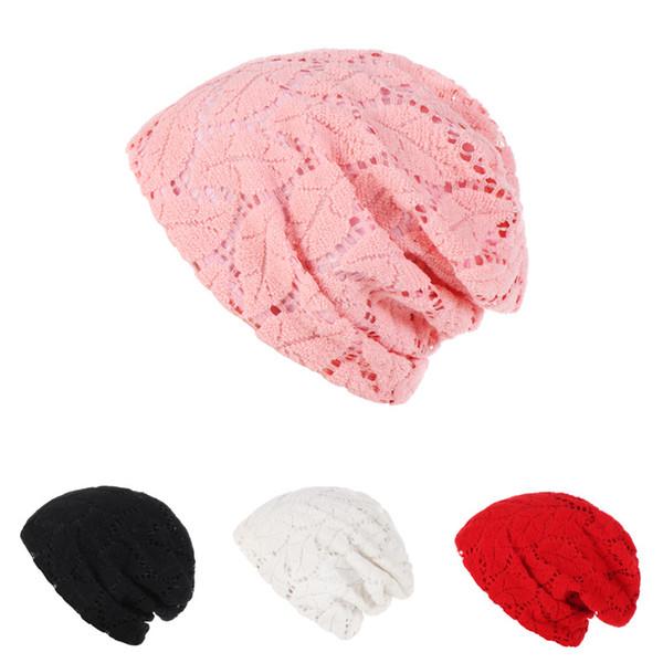 New Women's Flower Hollowing breathes Cotton Turban Head Hat Chemo Beanies Cap Headgear Female Headwear Headwrap Accessories