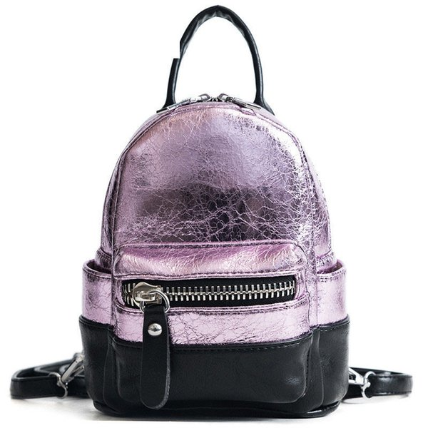 good quality Fahsion Panelled Design Small Backpack For Teenage Girls Pu Leather Mini Backpack Female Shoudelr Bag