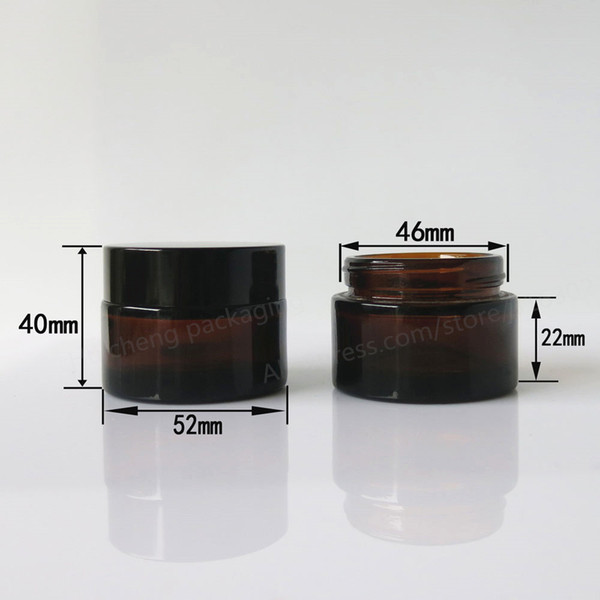 200 x 30G amber glass cream jar with black lid, 1 oz width mouth glass bottle for cosmetic use