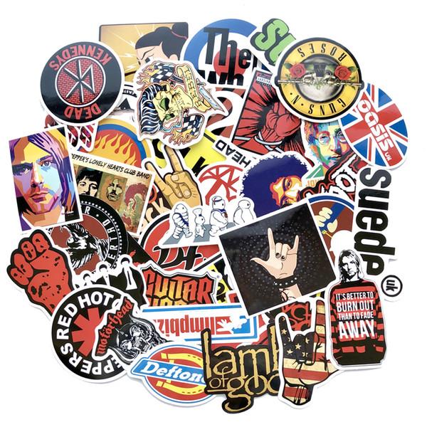 48/52 / 60pcs / lot Retro Rock Band Stickers Grean Day RHCP Dead Kennedys pour guitare de planche à roulettes Valise de bricolage Autocollants imperméables