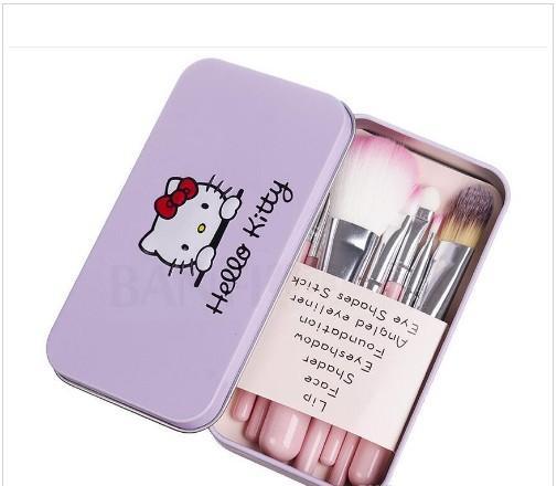 7pcs / Set Hello Kitty Makyaj Kozmetik Takımı Yüksek Kalite Fırçalar Pembe Demir Vaka / Tuvalet Güzellik Aletleri Araçlar Makyaj Fırçalar