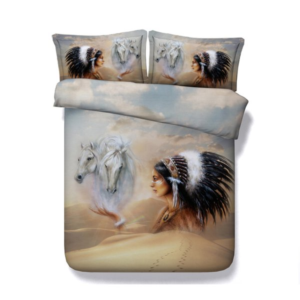Indian bedding Horse Comforter Cover Set Cotton Microfiber Bedding Set 3 Piece Animals Horse Printed Duvet Cover Set With 2 Pillow Shams