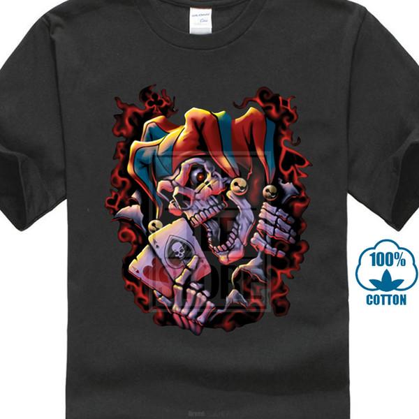 Mens Black Evil Jester T Shirt Skull Clown Joker Horror Scary A11513 Man Black T-shirt Hipster