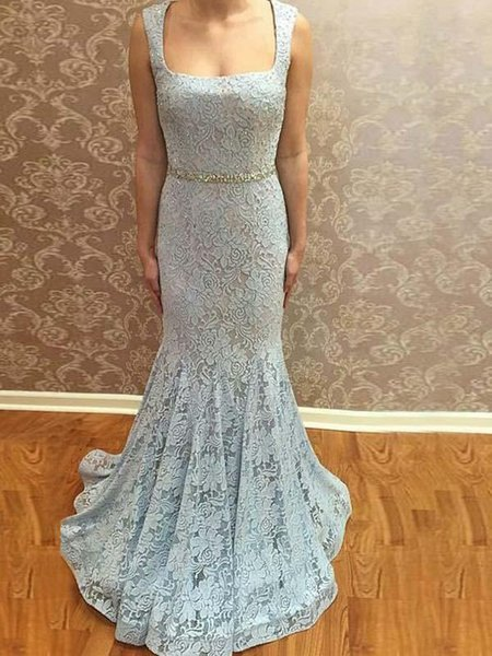 Abendkleider Beaded Belt Lace Prom Dresses Long Cheap 2019 Scoop Neckline Mermaid Evening Gowns Cocktail Party Dress Celebrity Formal Gown