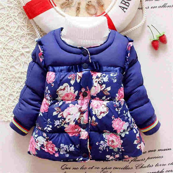 good quality small flower winter kid girl hooded outwear baby Korean cotton warm jacket Outerwear Children Outfits Baby Girls Coat