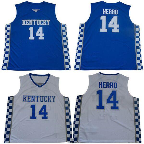 Hommes College Kentucky Wildcats maillots blanc bleu # 14 Tyler Herro taille adulte maillot de basket-ball cousu mélanger ordre livraison gratuite