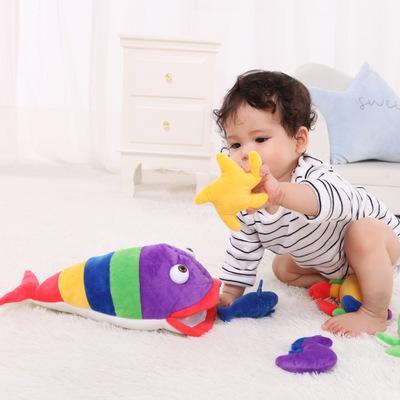 Bebek güvenliği sevimli 6 in 1 takım deniz hayvanları bebek oyuncakları bebek el çıngırak yatıştırıcı peluş bulmaca oyuncaklar müzikal oyuncak
