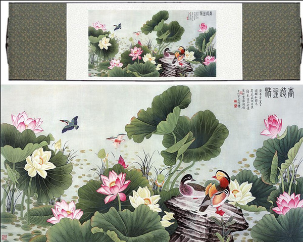 Chinese Traditional Art Painting Birds In The Water Silk Scroll Paintingprinted Painting2019061505