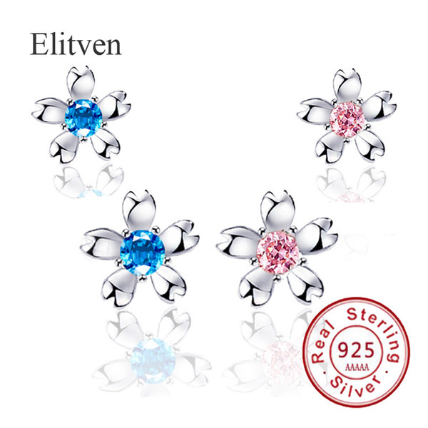 Elitven 925 orecchini in argento con fiore di cristallo rosa blu sterling reale per le donne Grils Jewelry Gift per Mother Girlfriend