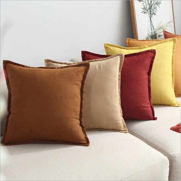 suede cushion cover solid colors 60cm funda cojin decorative blue grey sofa chaise throw pillow case 45cm cojines