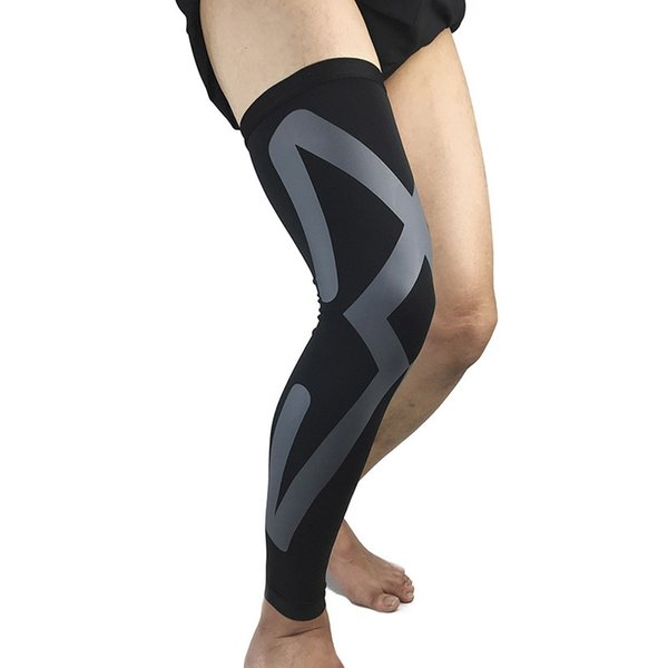 Hommes Sports Genou Protecteurs Respirant Long Genou Jambières Compression Manche Mollet Volleyball Football Running Supports # 207970