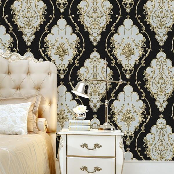 Modern Luxury Heavy Texture Victorian Damask Wallpaper Black Gold Brown Silver 3d Living Room Bedroom Home Art Decor Wallpaper Designs Wallpaper