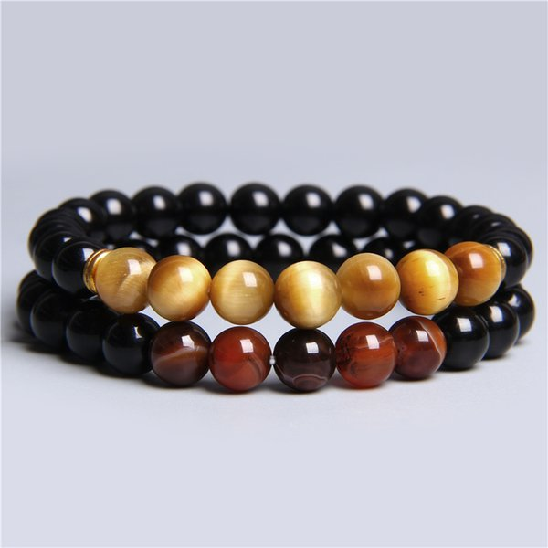 2pcs/set natural gold tiger eye stone beads black onyx coffee agates stone beads bracelet for men women couples gift bracelets