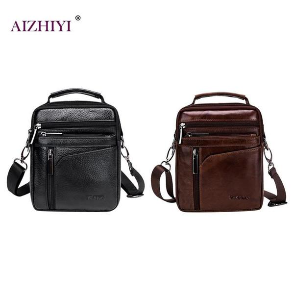 Men Solid Color Leather Shoulder Bags Small Crossbody Satchel Bag for Man Business Messenger Pack Male Travel Handbags New