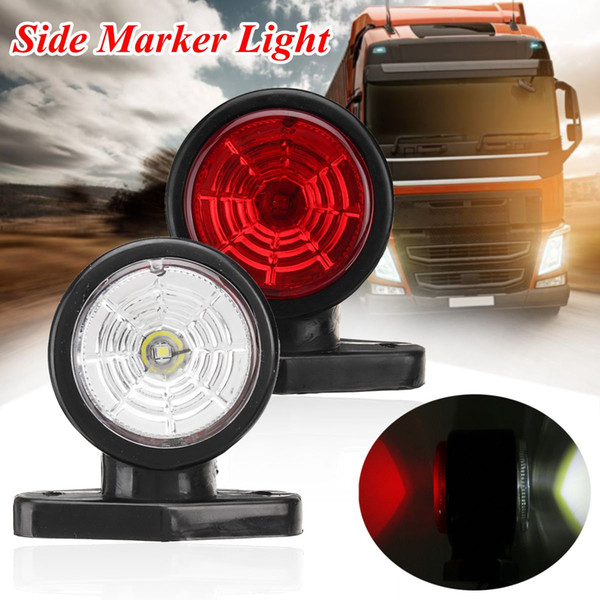 2pcs 10-30V Side Marker Light Clearance Light Waterproof LED Red White Lamp Trailer Truck Lorry Caravan Indicator Light Lamp