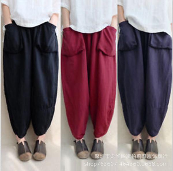 Kadınlar Boy Harem Pantolon Gevşek Bağbozumu Etnik Artı Boyutu Pantolon Pantolon