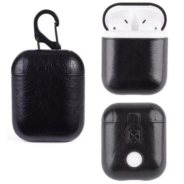 Famoso diseñador de cuadrícula cubierta PU funda de cuero genuino para Airpods casos cubierta gancho corchete llavero de moda caso de auriculares protector GSZ508H