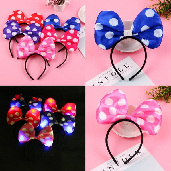 Cute Gilter Cartoon Polka Dot bow flash Headband 12ps Nice Gifts For Wedding Party Flower Girls Kids Bridal Headpieces Women Christmas Gift