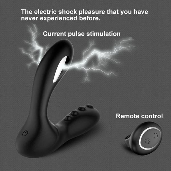 Shock elettrico Maschile Massaggiatore della prostata Vibratore Telecomando Vibratore anale Butt Plug Masturbatore maschile Giocattoli adulti del sesso per gli uomini Y190722