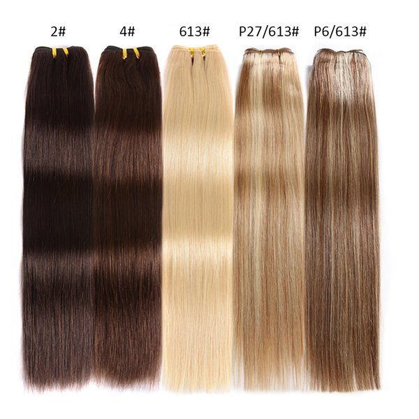Dark Brown Medium Brown Light Brown Brazilian Virgin Hair 18-24 Inch Straight Hair Weave 100g #613 Blonde Human Hair Extension Free Shipping