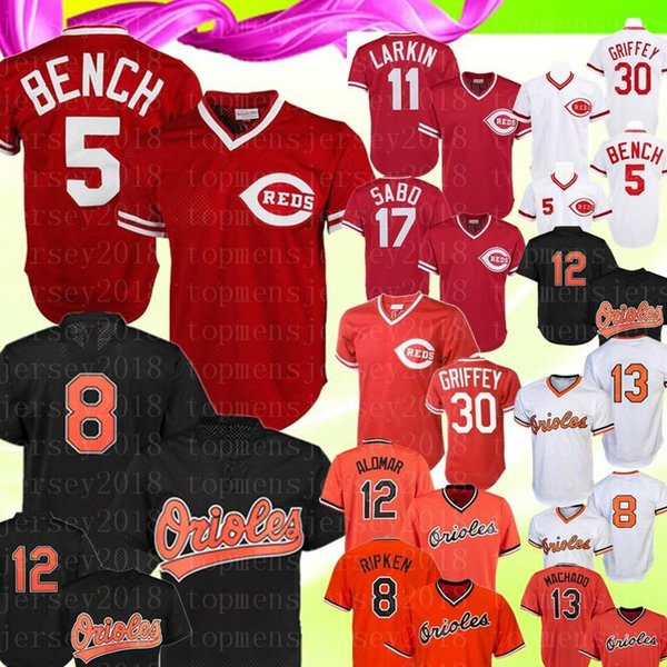 Retro Cincinnati 5 Reds Johnny Bench 11 Barry Larkin 19 Joey Votto Jersey Baltimore 8 Cal Ripken Jr. Orioles 12 Roberto Alomar 2020