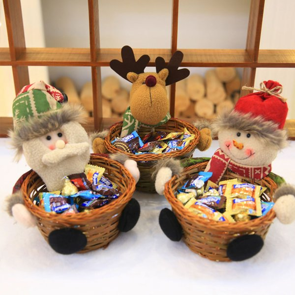 Deer Holder Colorful Storage Gift Xmas Party Supply Candy Basket for Home Decor Decoration Christmas for Ornament