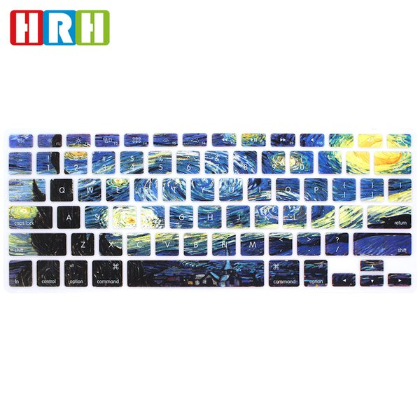 """Oil painting Design Silicone English Keyboard Cover Keypad Skin Protector for Macbook Air Pro Retina 13"""" 15""""17"""",Keyboard Protector Film"""