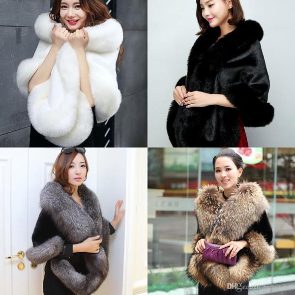 2019 Winter Bridal Faux Fur Wraps Scialli caldi Tuta sportiva Coprispalle Nero Borgogna Blu argento Per la sposa Giacca da damigella d'onore Prom Cocktail