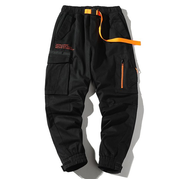 2019 Sonbahar Erkek Harem Pantolon Streetwear Jogger Kurdeleler Pantolon Erkekler Hip Hop, çok cepli kargo pantolon Pantolon Harf Baskılı