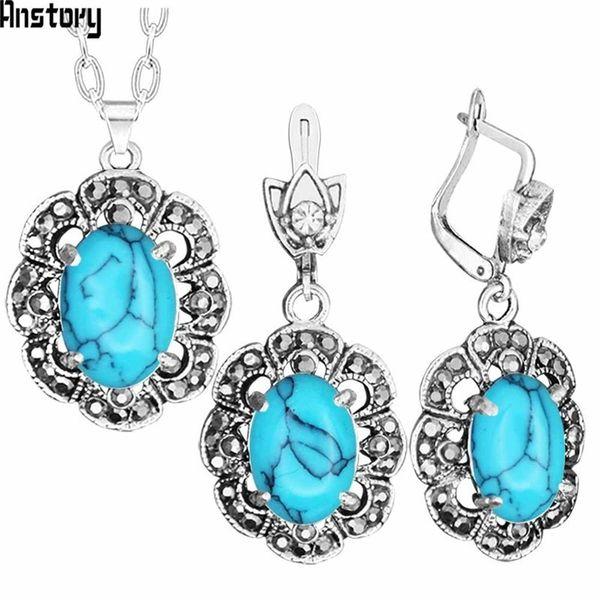 Conjuntos baratos Flor de ciruelo Collar Colgante Pendientes Pendientes Rhinestone Blue Stone Set Antiguo Plata Plateado Joyería de Moda TS396