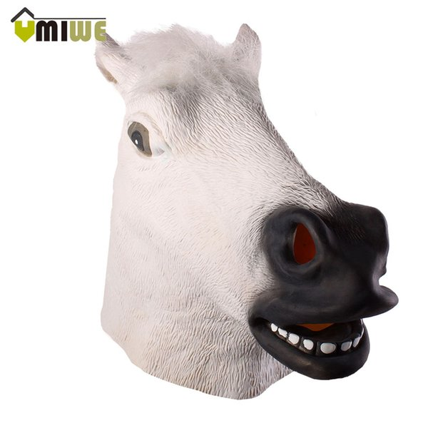 head Umiwe Fantastic Whimsey Costume Party Decoration White Latex Horse Head Adult Full Face Cosplay Animal Mask For Party