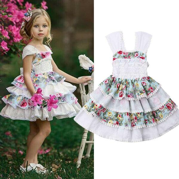 UK 6M-5Y Baby Girls Sleeveless Lace Dress Flower Party Wedding Birthday Dresses