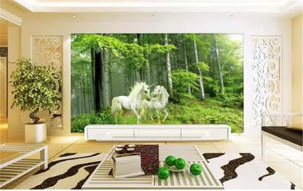 Tapete Modern Minimalistisch Romantisch Waldwächter Einhorn 3D Europäische Tapete Innen TV Hintergrund Wanddekoration Wandbild Tapete