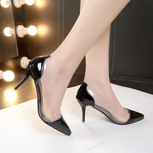 Zapatos de vestir 2019 Nuevas mujeres transparentes de tacón alto puntiagudo sexy delgado con boca baja Pequeñas mujeres solteras frescas -1