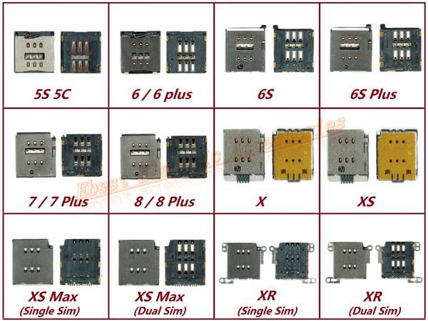 2 pezzi OEM Slot per slot per lettore di schede SIM per iPhone XS Max XS XR X 8 7 6S 6 Plus 5S 5C