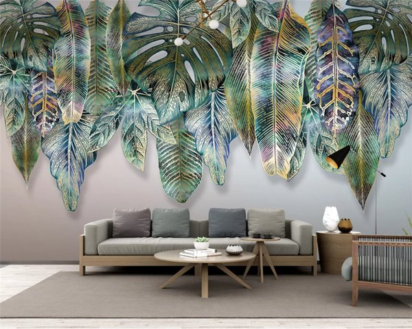 Customized environmental papel de parede wallpaper Nordic simple fresh tropical plant background wall paper mural