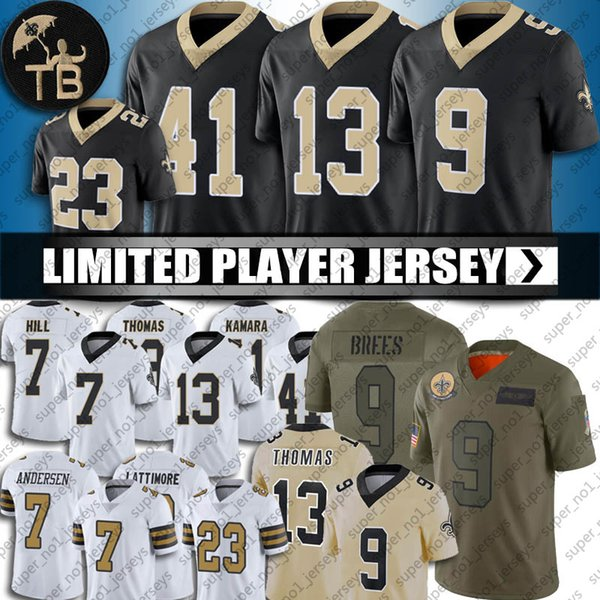 top popular 9 Drew Brees Jersey New Orleans 13 Michael Thomas Saints Jersey 41 Alvin Kamara Jerseys Marshon Lattimore Taysom Hill Football Jersey 2020