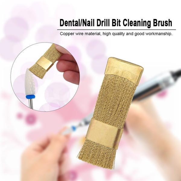 1 Pc Broca Dental Escova De Limpeza Portátil Elétrico Manicure Brocas Fio de Cobre Broca Escova De Limpeza Mais Limpo Prego Bit Ferramenta