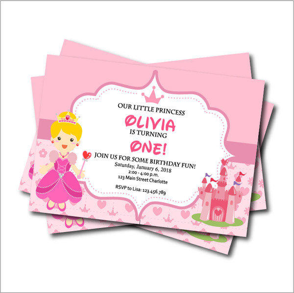 Personalized Princess Birthday Party Invitation Card Baby Shower Invites Kids Girls Birthday Party Decoration Supply B Day Cards B Day Greeting Cards