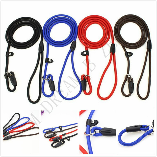 best selling Durable Pet Dog Nylon Rope Training Leash Slip Lead Strap Adjustable Traction Collar Pet Animals Rope Supplies Accessories0.6*130cm