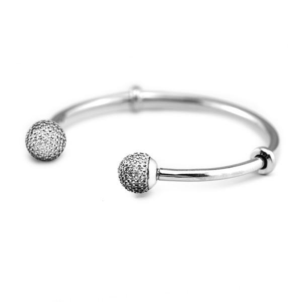 Pave Open Браслет-манжета Серебряной 925 Sterling Silver Clear CZ Cap Застежка браслет браслеты для женщин оригинальных украшений pulseras Mujer