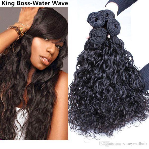 Wasserwellen-Haareinschlagfaden-lockige Webart Remy brasilianisches reines Haar-nasse und gewellte malaysische menschliche Haar-Erweiterungen 4 Bündel-Ozean-natürliche Wellen-Webart