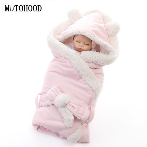 MOTOHOOD Winter Baby Boys Girls Blanket Wrap Double Layer Fleece Baby Swaddle Sleeping Bag For Newborns Baby Bedding BlanketMX190910