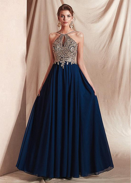 Brilliant Chiffon Halter Neckline Floor-length A-line Evening Dresses With Appliques crystal prom dresses long Bridesmaid Dresses Honor Gown