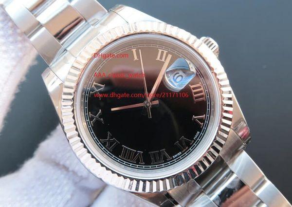 Fornitore della fabbrica di alta qualità meccanica automatica data bianco 218239 grande 41 millimetri quadrante nero zaffiro vetro d'orologio orologi da uomo