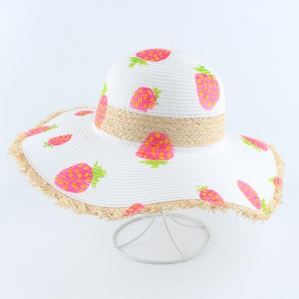 Las mujeres playa del verano de los sombreros de Sun hecho a mano de pintura de la fresa del sombrero de paja de ala ancha grande plegable del sombrero de Panamá