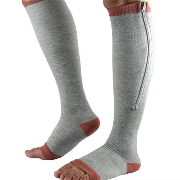 Unisex calcetines de compresión ayuda de la rodilla de la cremallera de la pierna Calcetines Hombres Mujeres punta abierta delgada Anticansancio elástico