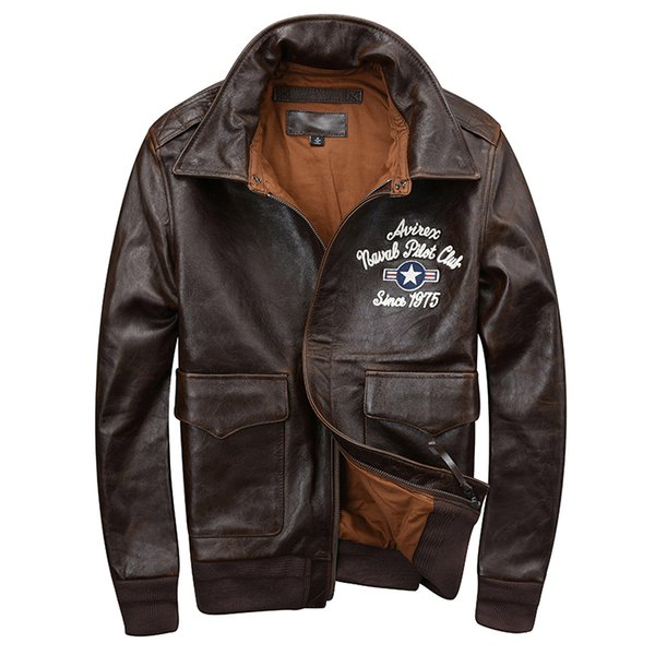 d816fe01e HARLEY DAMSON Dark Brown Men USAF Pilot Leather Jacket Plus Size XXXL  Genuine Cowhide Russian Spring